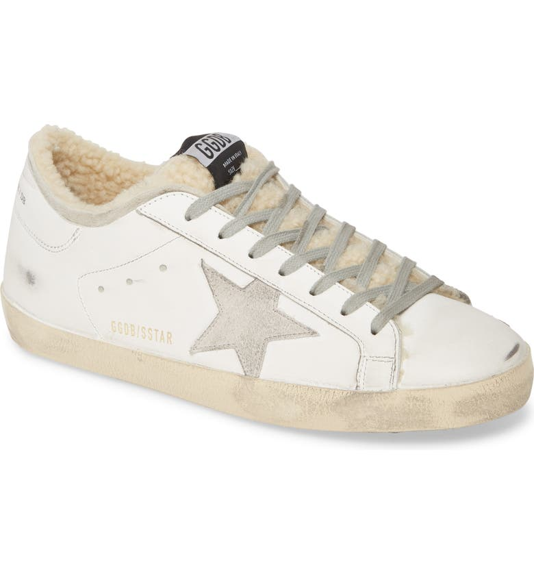GOLDEN GOOSE Superstar Genuine Shearling Lined Sneaker, Main, color, WHITE SHEARLING SOCK
