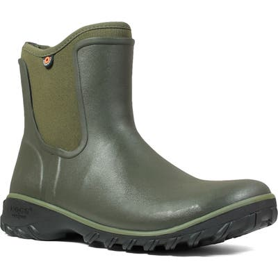 Bogs Sauvie Waterproof Chelsea Boot, Green