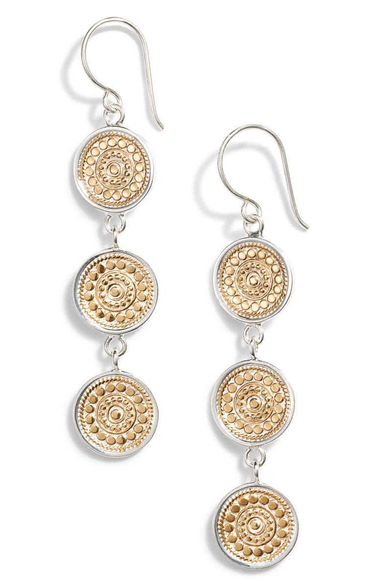 ANNA BECK Beaded Triple Drop Earrings, Main, color, GOLD/ SILVER