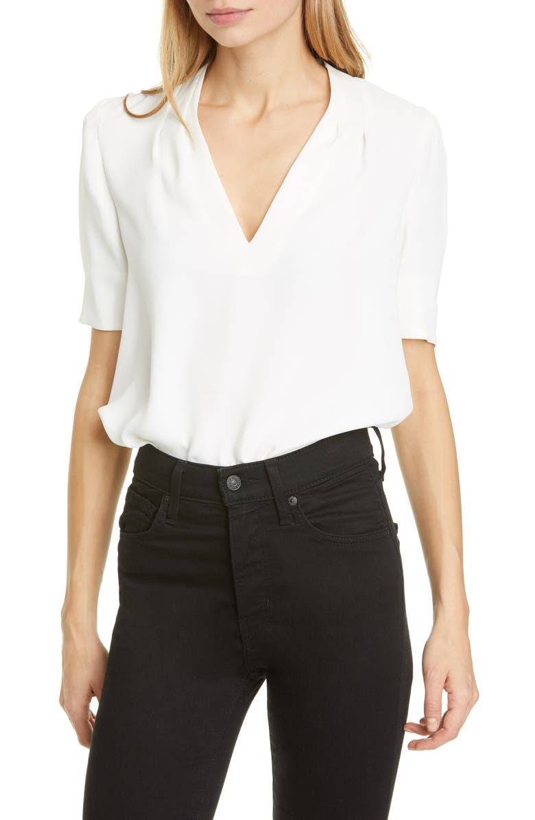 JOIE Ance V-Neck Silk Blouse, Main, color, PORCELAIN