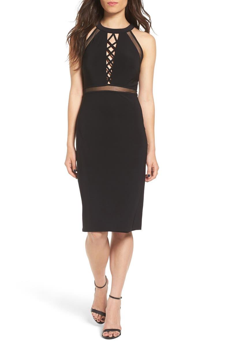 MORGAN & CO. Lattice Detail Midi Dress, Main, color, 001
