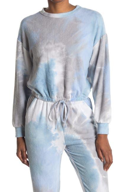 Image of Lush Long Sleeve Tie Dye Print Elastic Tie Top