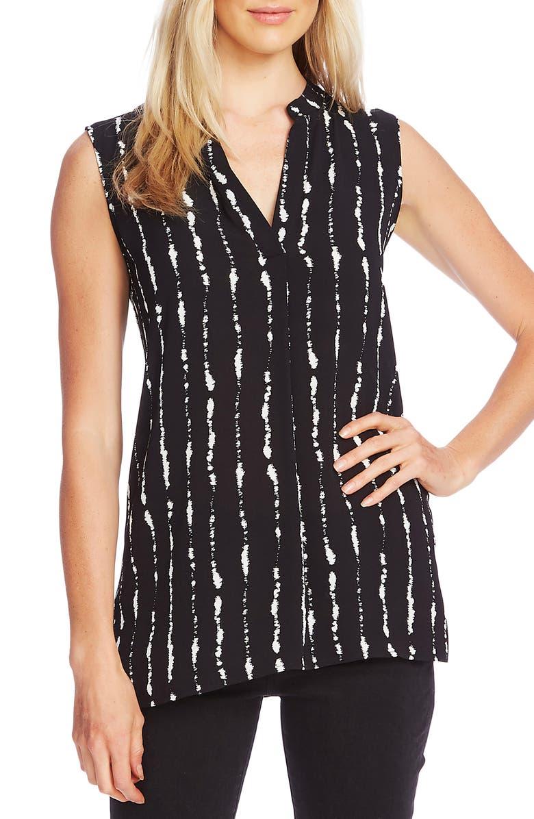 VINCE CAMUTO Stripe Impressions Split Neck Top, Main, color, RICH BLACK