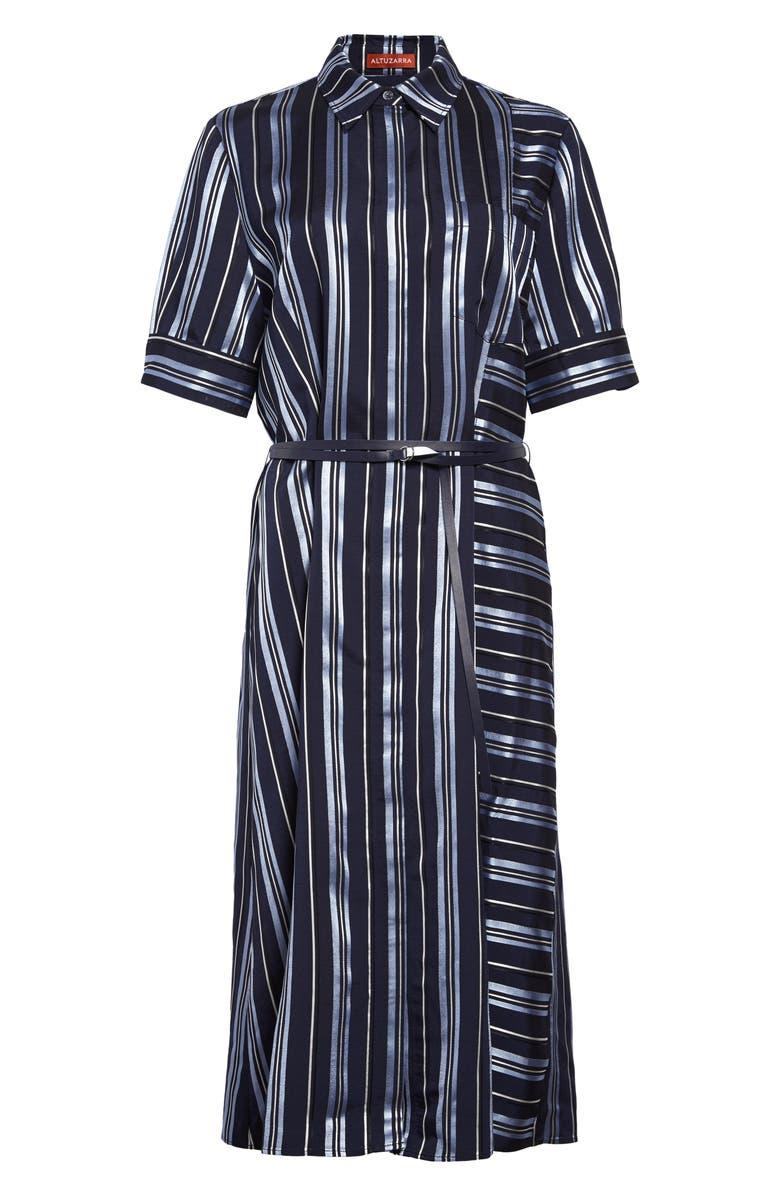 ALTUZARRA Belted Stripe Satin Shirtdress, Main, color, BERRY BLUE MULTI