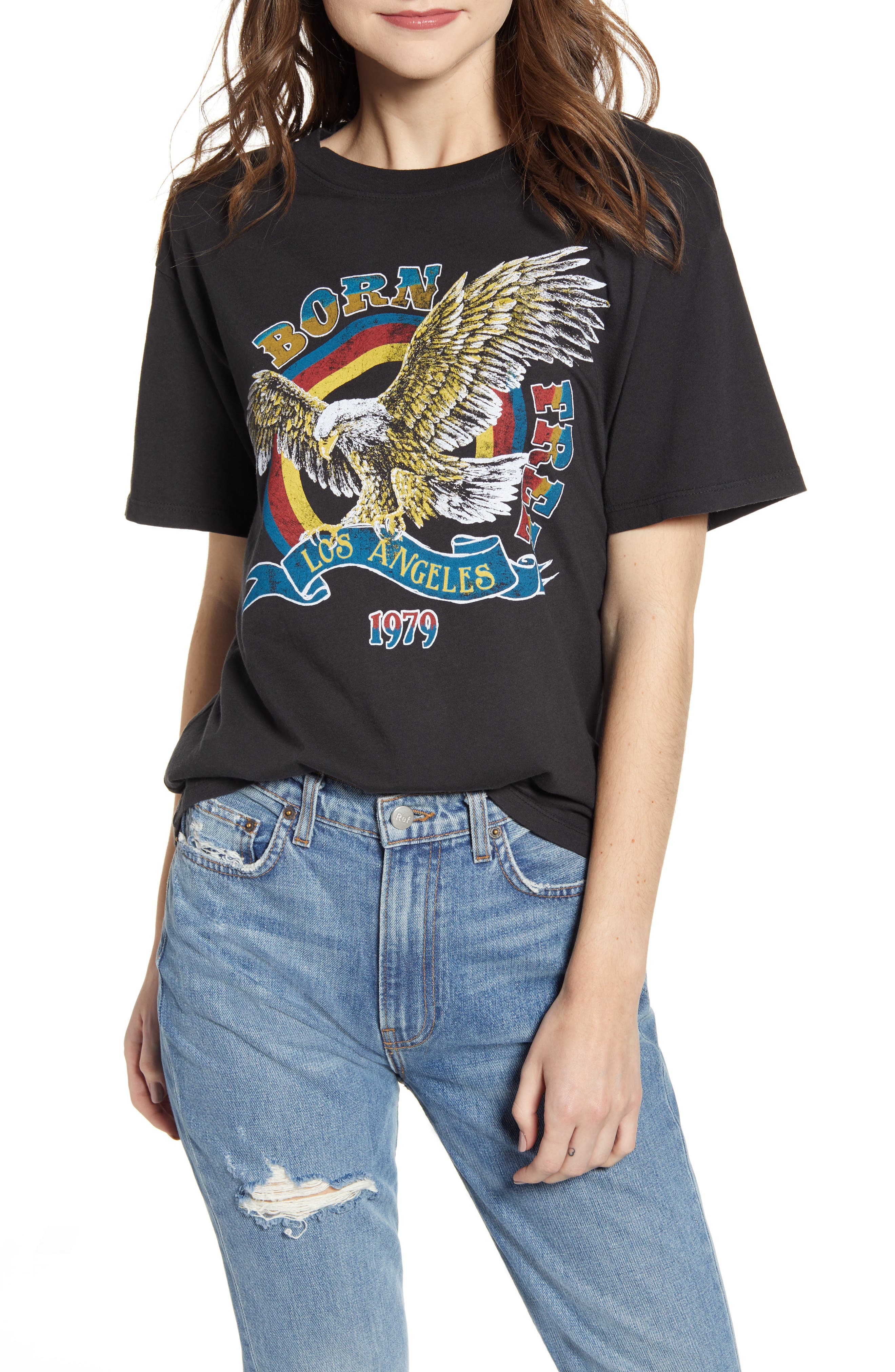 Born Free Graphic Boyfriend Cotton Tee, Main, color, ASH BLACK