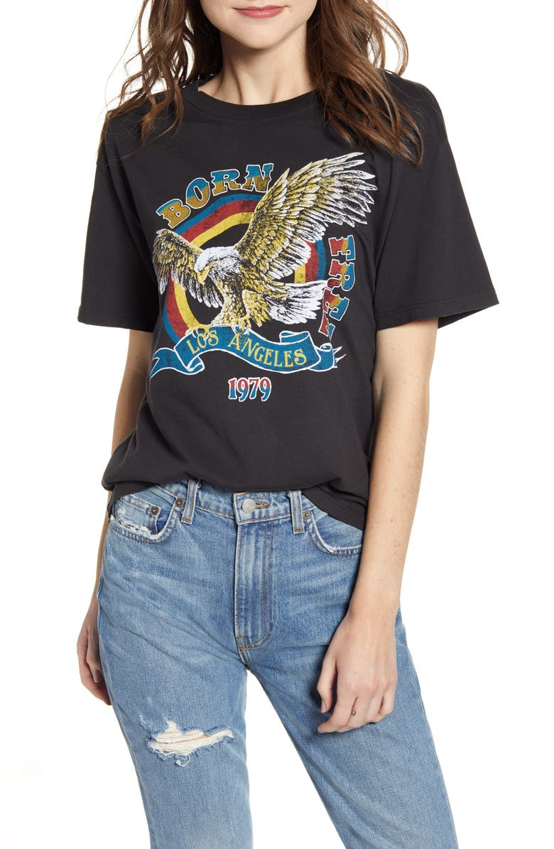 DAY BY DAYDREAMER Born Free Graphic Boyfriend Cotton Tee, Main, color, 001