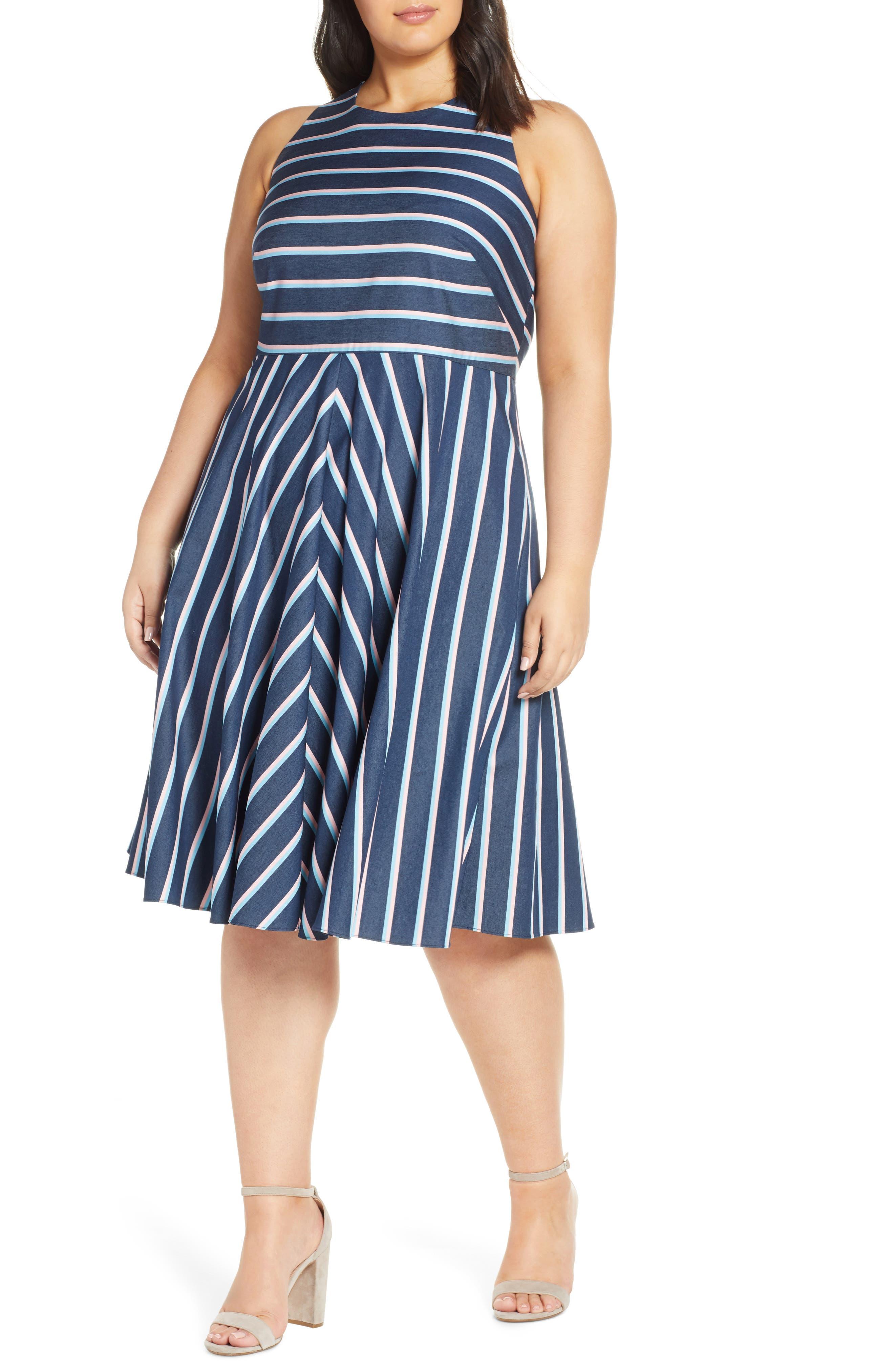 Plus Size Eliza J Stripe Fit & Flare Dress, Blue