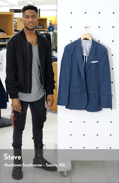 Hartlay Trim Fit Windowpane Wool Sport Coat, sales video thumbnail