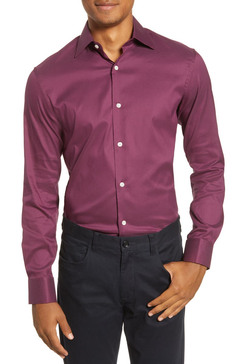 BONOBOS Slim Fit Stretch Dress Shirt, Main, color, COLOR SOLID - RAVISHING WINE