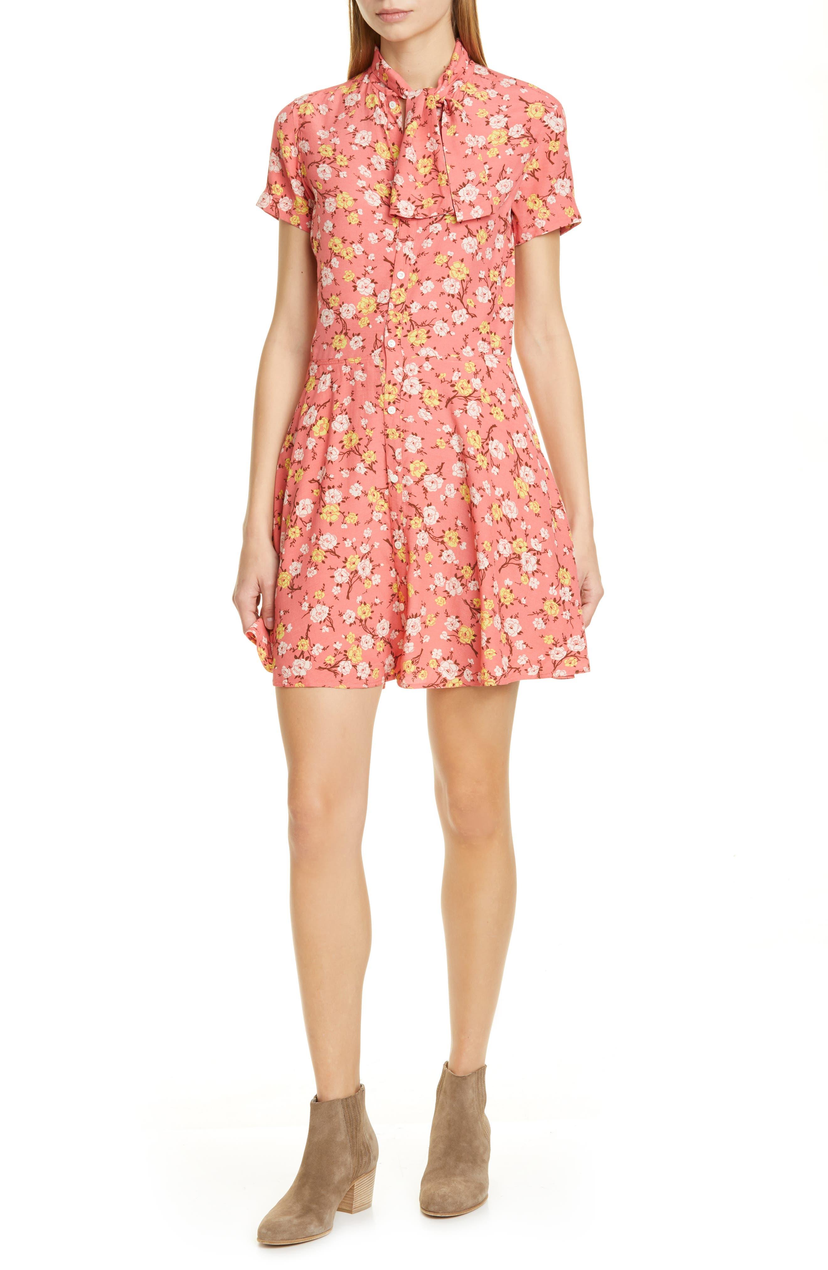Polo Ralph Lauren Floral Tie Neck Fit & Flare Dress, Pink