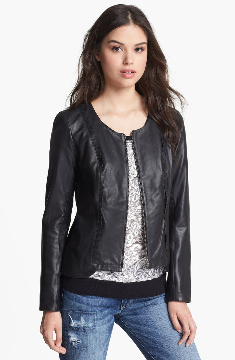 HINGE <sup>®</sup> Scallop Trim Leather Jacket, Main, color, 001