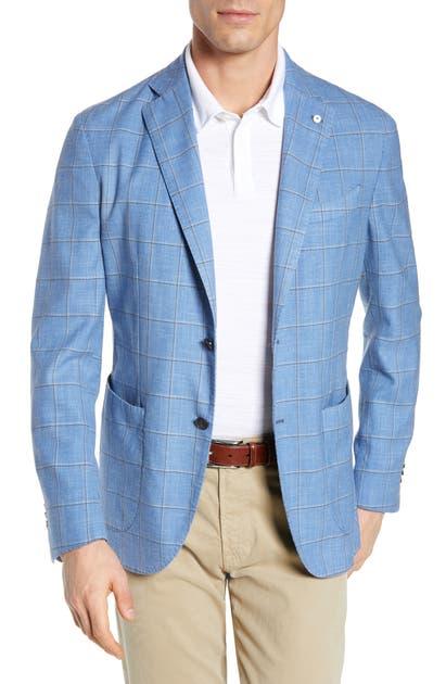L.B.M. 1911 Trim Fit Windowpane Wool Blend Sport Coat In Turquoise/ Aqua