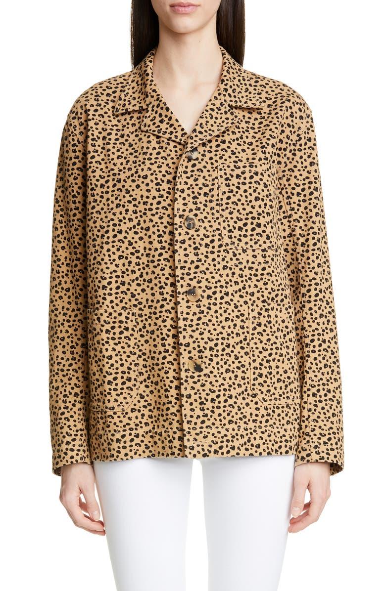 REJINA PYO Billie Leopard Print Cotton Jacket, Main, color, 200