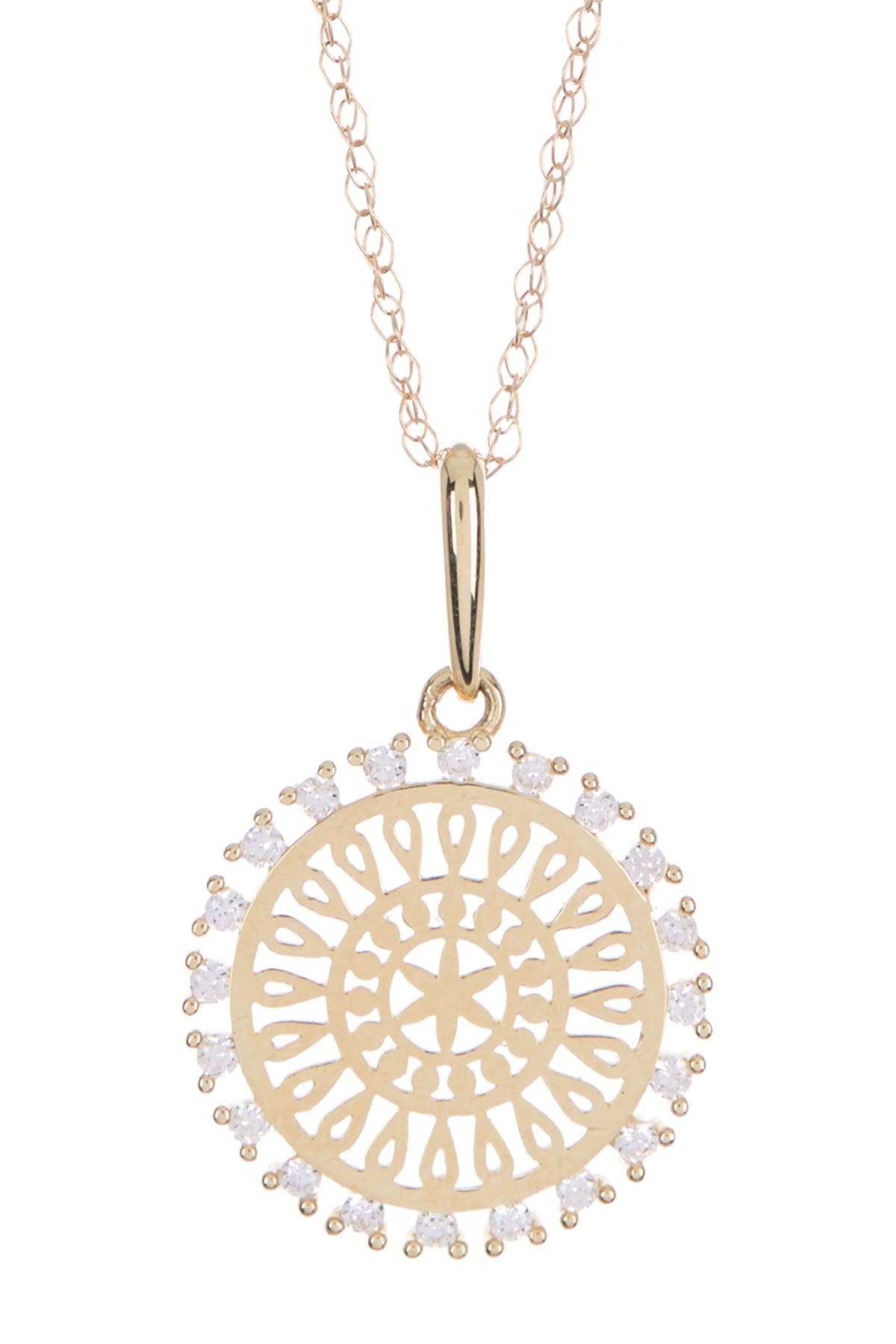Image of Candela 10K Gold Swarovski CZ Mandala Pendant Necklace