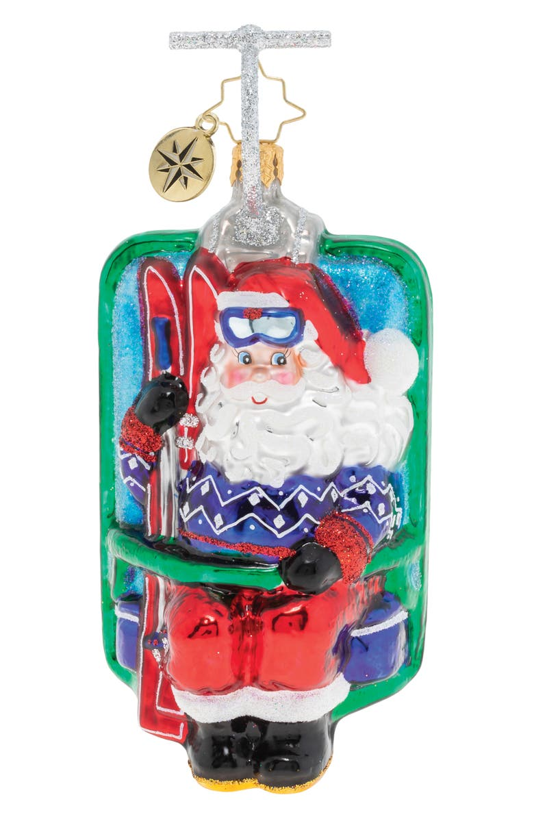CHRISTOPHER RADKO Riding Up The Snowy Mountain Ornament, Main, color, BLUE