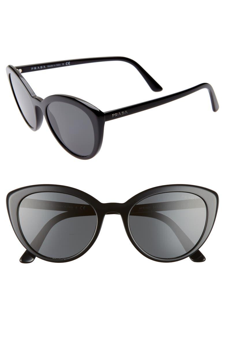 PRADA 54mm Cat Eye Sunglasses, Main, color, BLACK/ BLACK SOLID