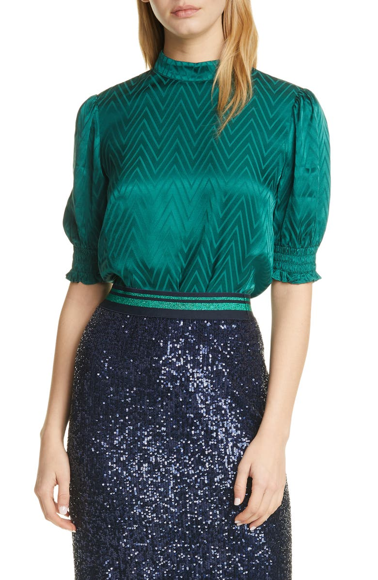 TED BAKER LONDON Puff Sleeve Chevron Top, Main, color, 311