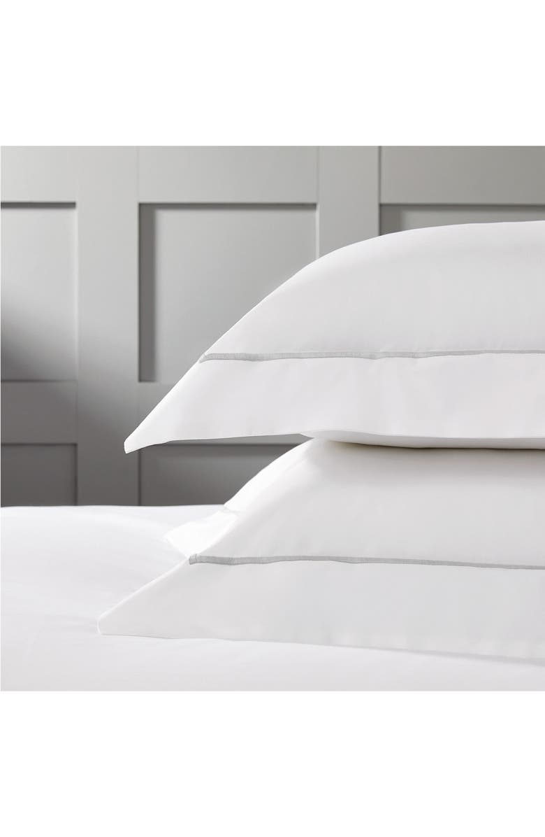 THE WHITE COMPANY Luxury Savoy 200 Thread Count Euro Sham, Main, color, SILVER/ WHITE