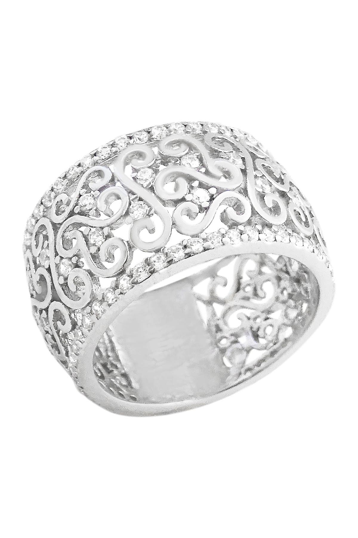 Image of Savvy Cie Sterling Silver Pave CZ Filigree Eternity Band Ring