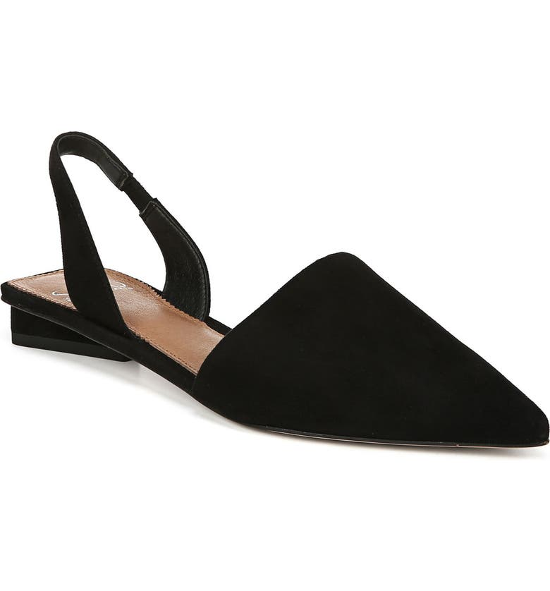 SARTO BY FRANCO SARTO Graydon Pointy Toe Slingback Flat, Main, color, BLACK SUEDE