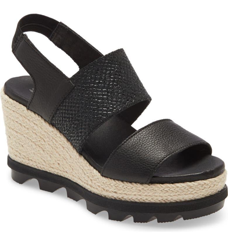 SOREL Joanie II Slingback Platform Wedge Sandal, Main, color, BLACK LEATHER