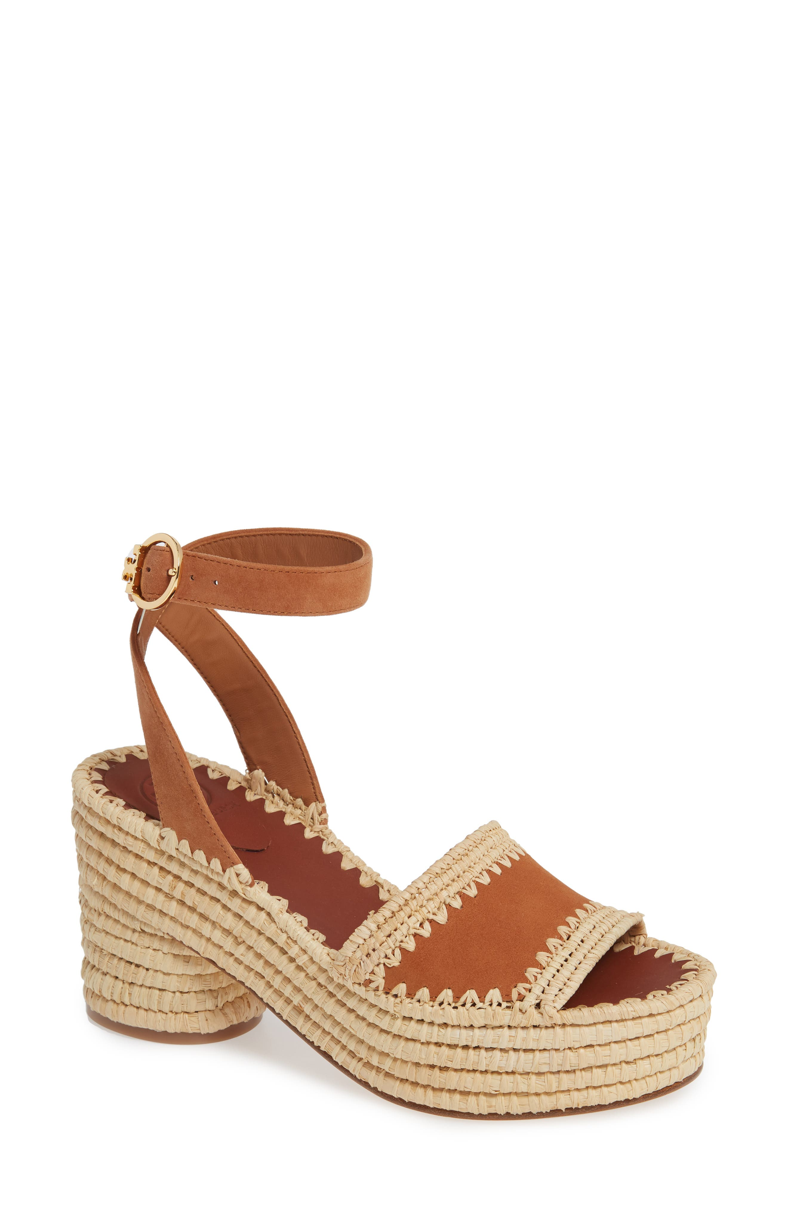 ,                             Arianne Platform Ankle Strap Sandal,                             Main thumbnail 1, color,                             TAN