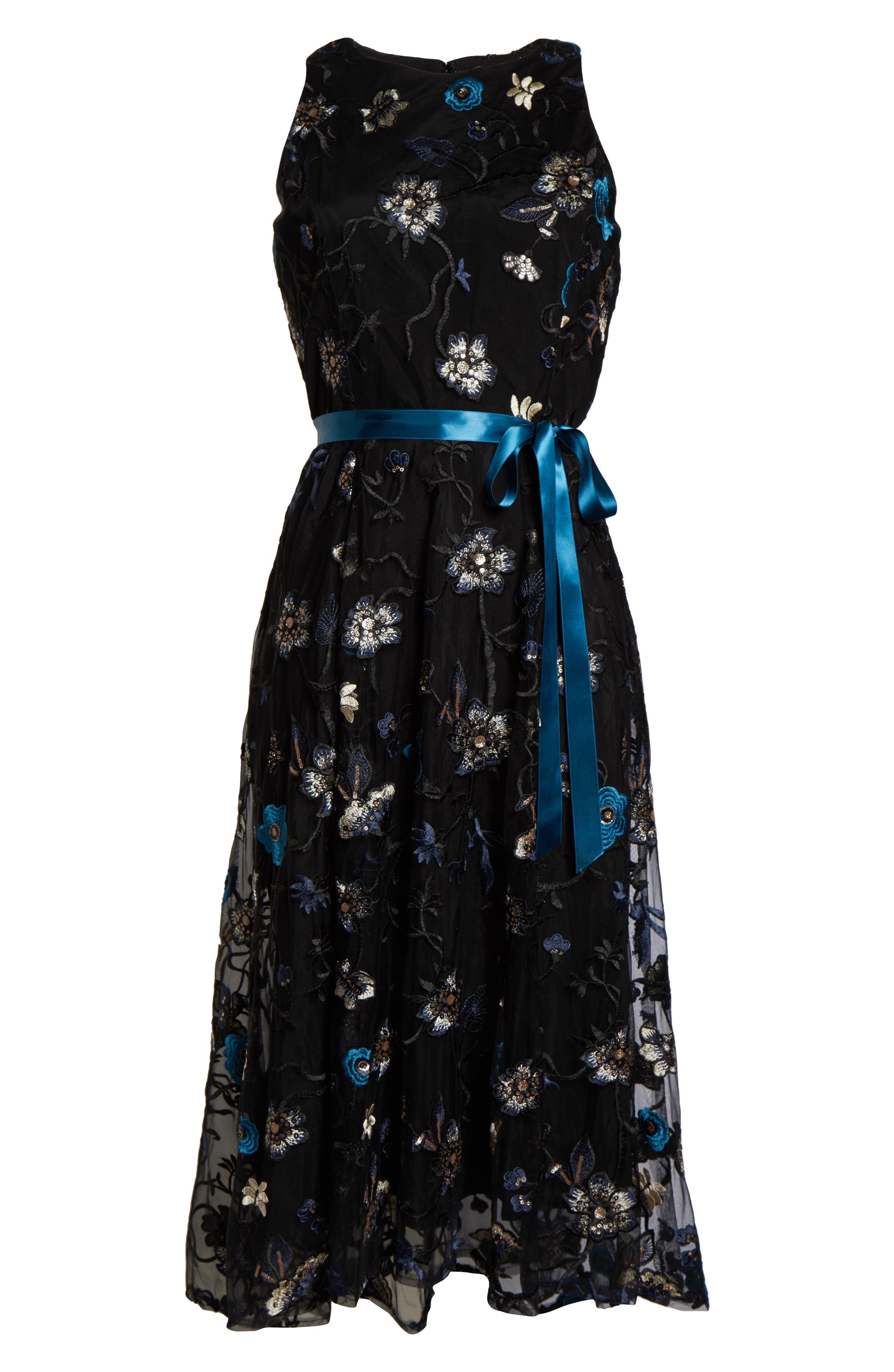Tahari Dresses Floral Embroidered Mesh Midi Dress