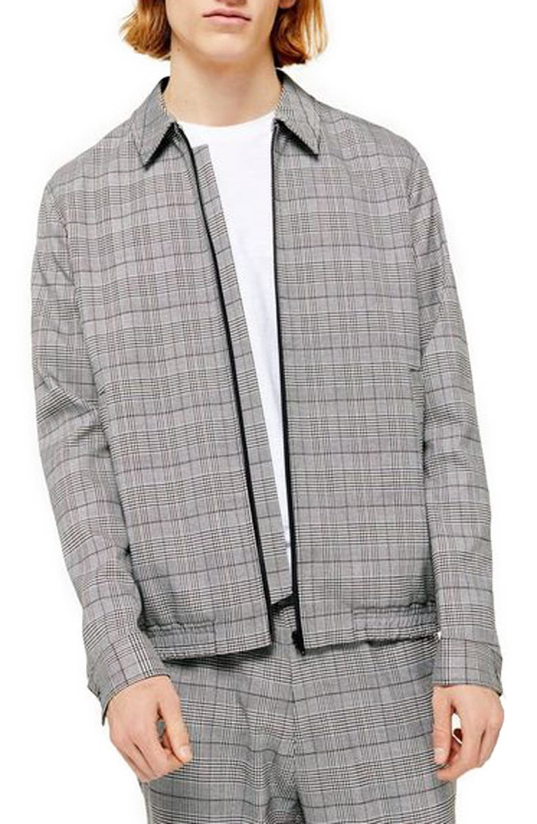 TOPMAN Trim Fit Check Jacket, Main, color, GREY MULTI