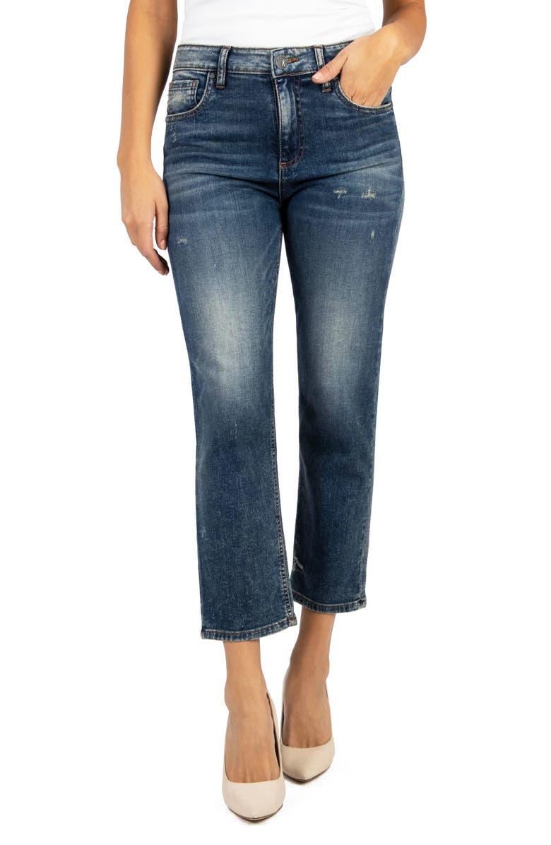KUT FROM THE KLOTH Elizabeth High Waist Distressed Crop Straight Leg Jeans, Main, color, 400