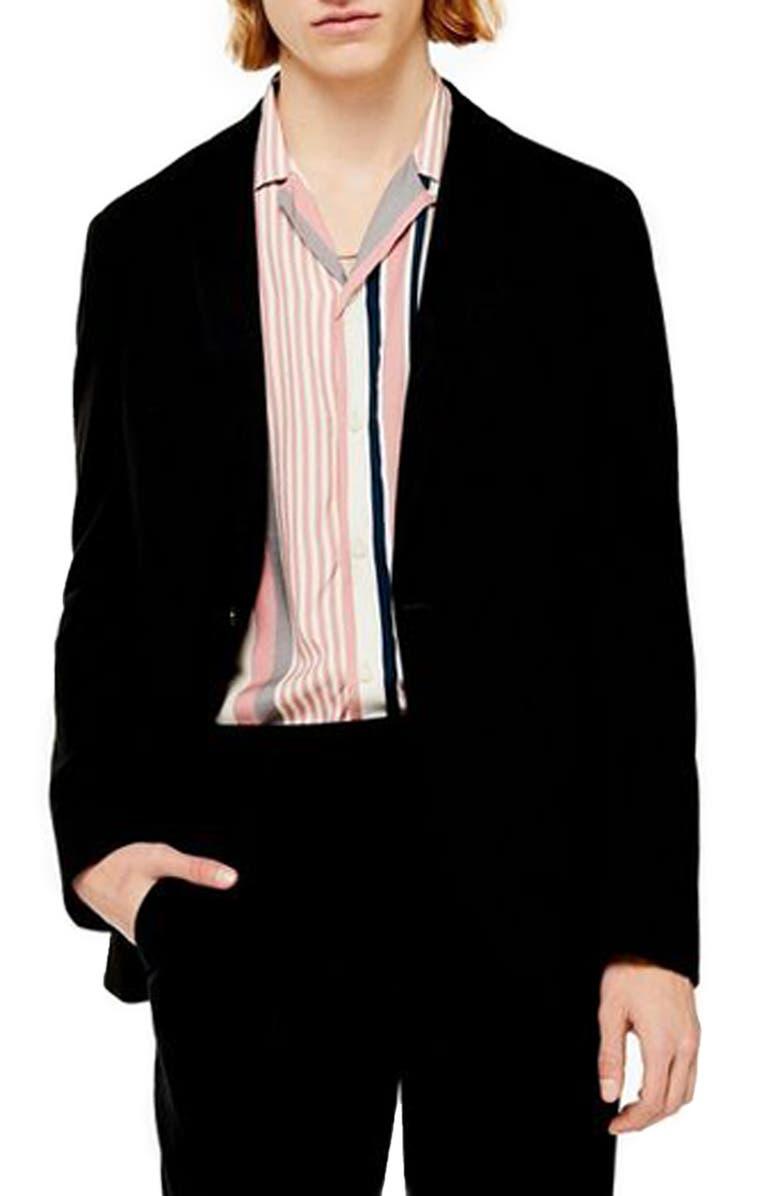 TOPMAN Slim Fit Solid Jersey Blazer, Main, color, BLACK