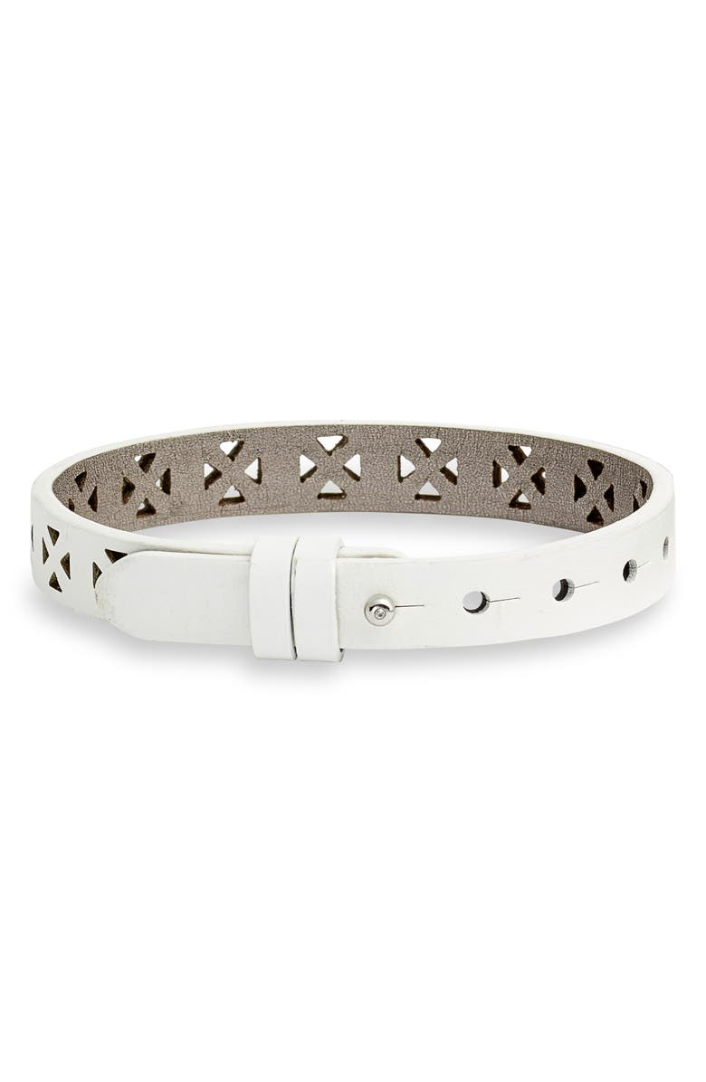 KEEP COLLECTIVE Perforated Leather Band Reversible Charm Bracelet, Main, color, WHITE