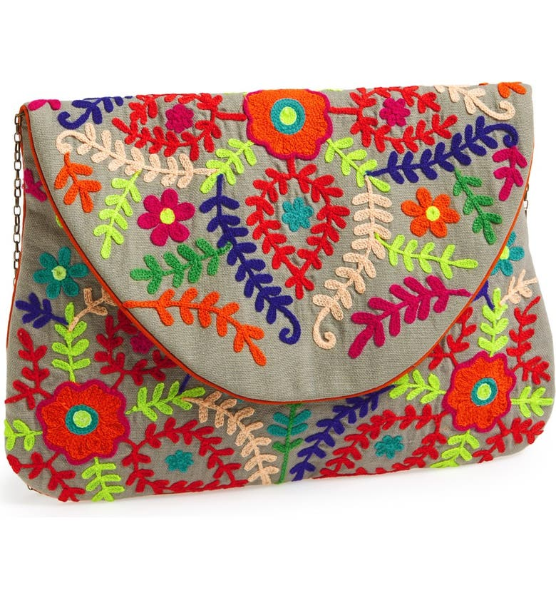 BIG BUDDHA 'Large' Oversized Embroidered Clutch, Main, color, 200