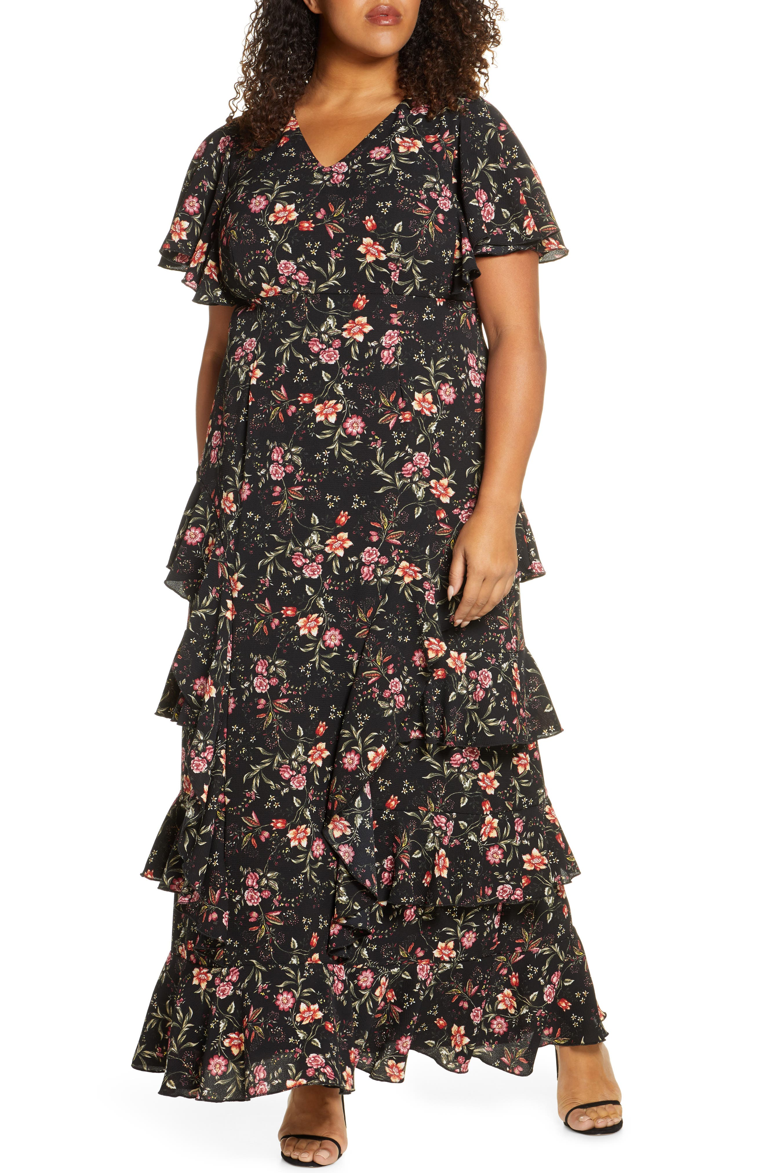 1930s Art Deco Plus Size Dresses | Tea Dresses, Party Dresses Plus Size Womens Kiyonna Tour De Flounce Tiered Maxi Dress $288.00 AT vintagedancer.com