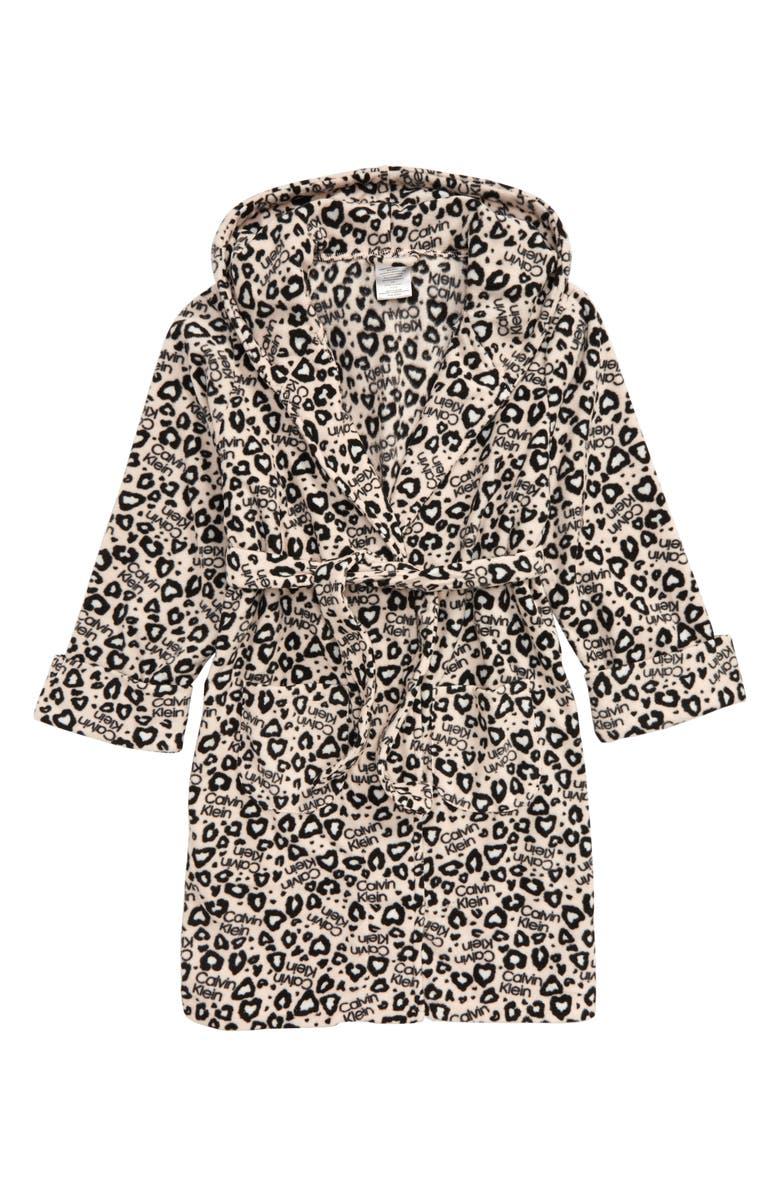 CALVIN KLEIN Hooded Robe, Main, color, CK PINK LEO