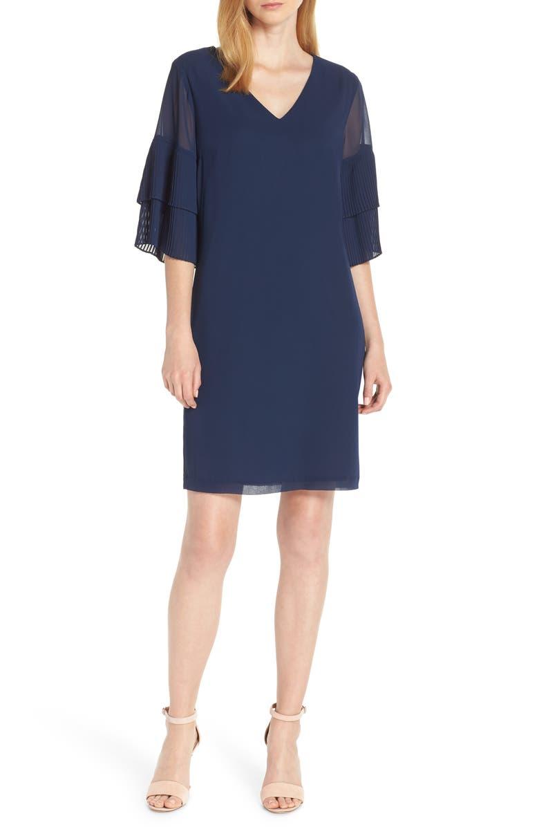 SAM EDELMAN Pleat Sleeve Shift Dress, Main, color, NAVY