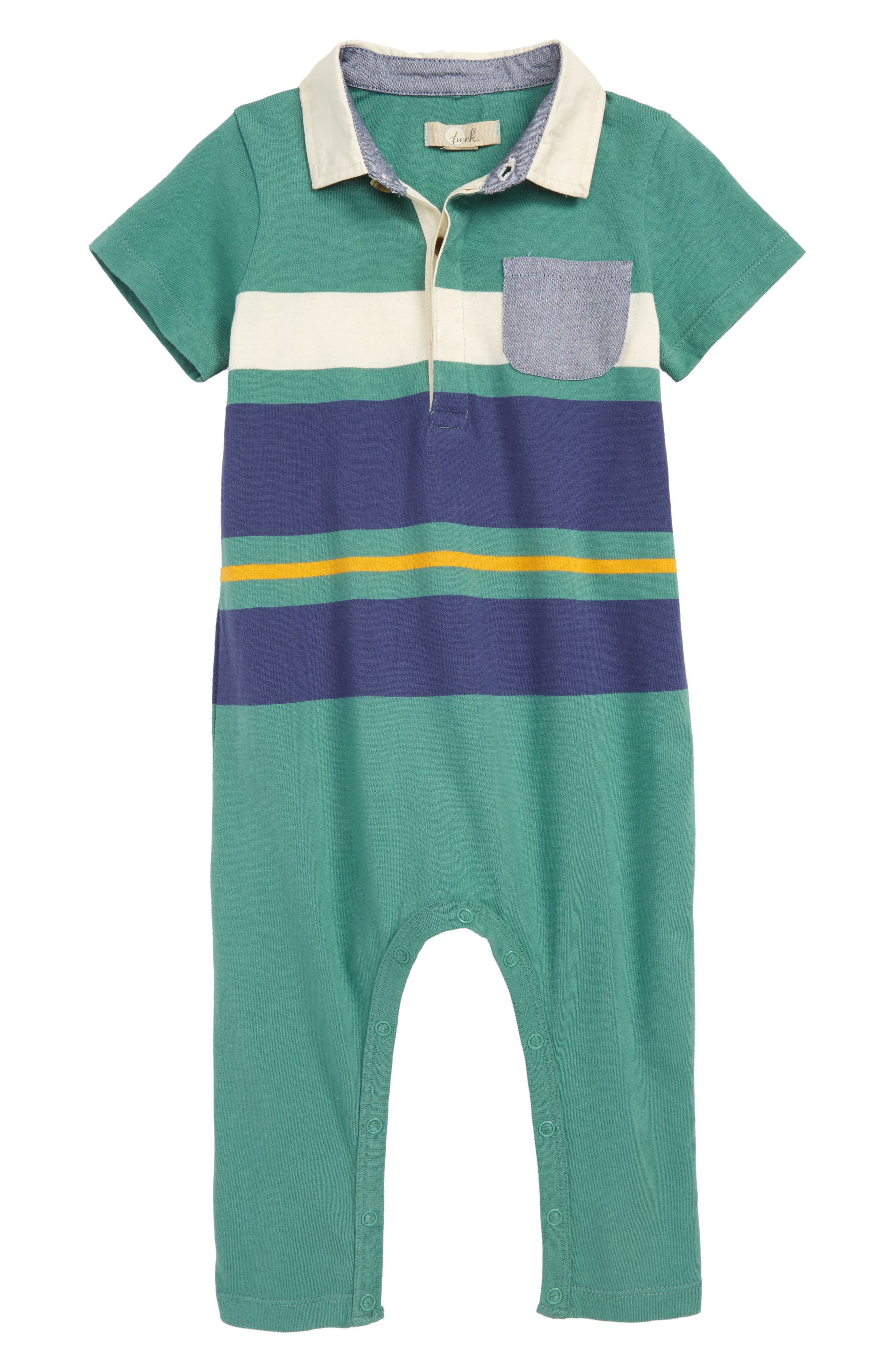 Rugby Stripe Cotton Romper, Main, color, 300