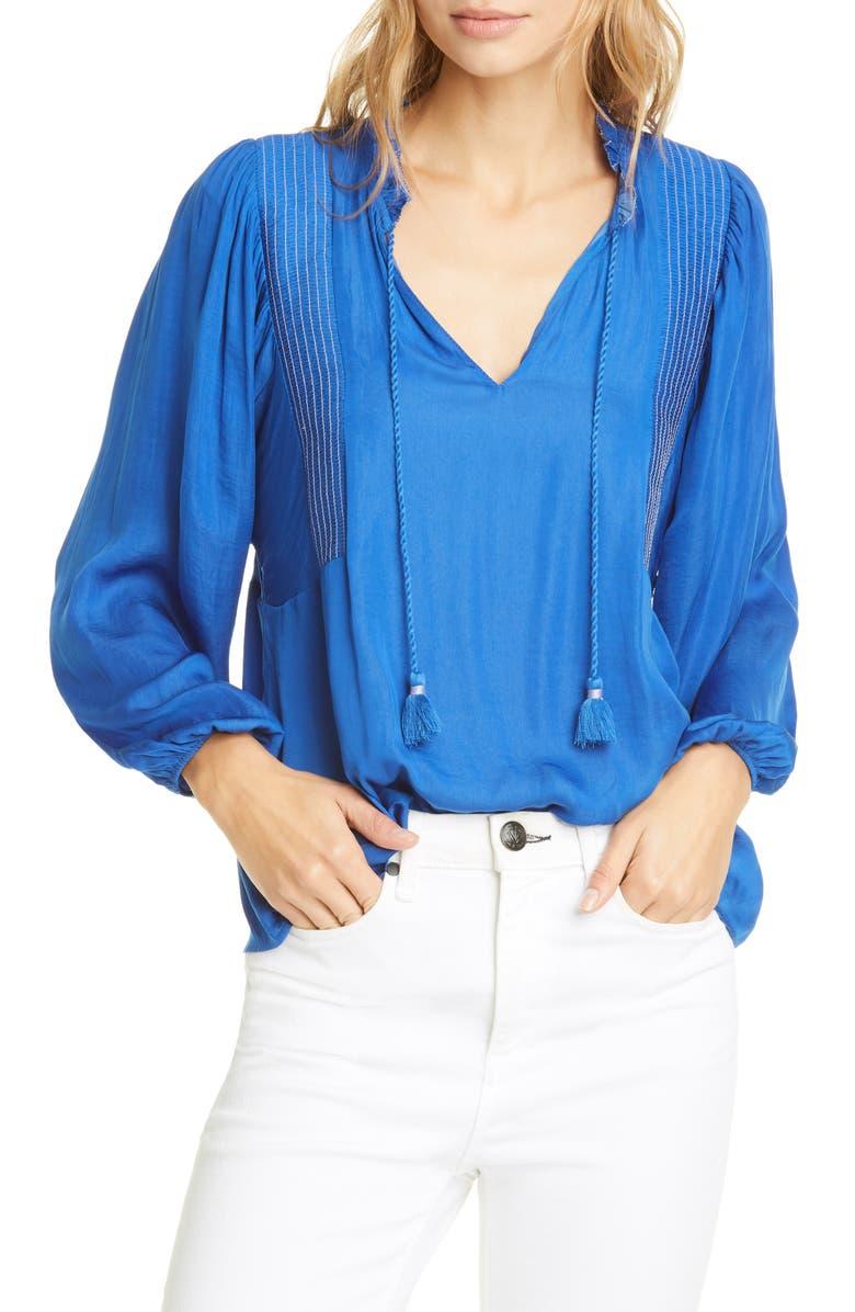 DOLAN Mara Tassel Tie Split Neck Top, Main, color, LAPIS