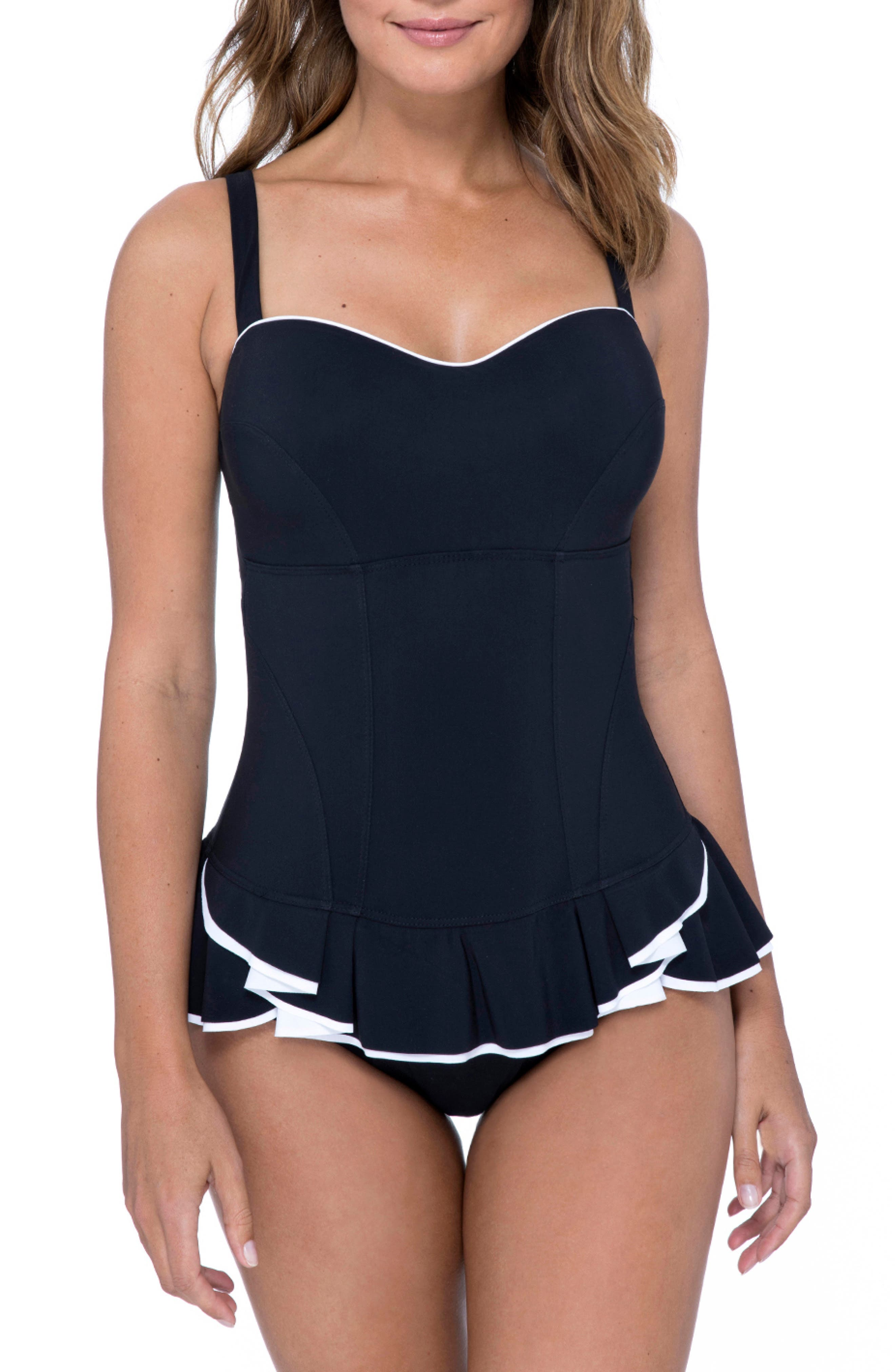 ,                             Belle Curve Peplum Underwire Swim Dress,                             Main thumbnail 1, color,                             BLACK