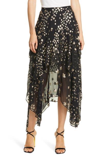 Loveshackfancy Skirts METALLIC STAR PRINT SILK BLEND SKIRT