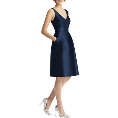 Alfred Sung V-Neck Satin Cocktail Dress, Blue