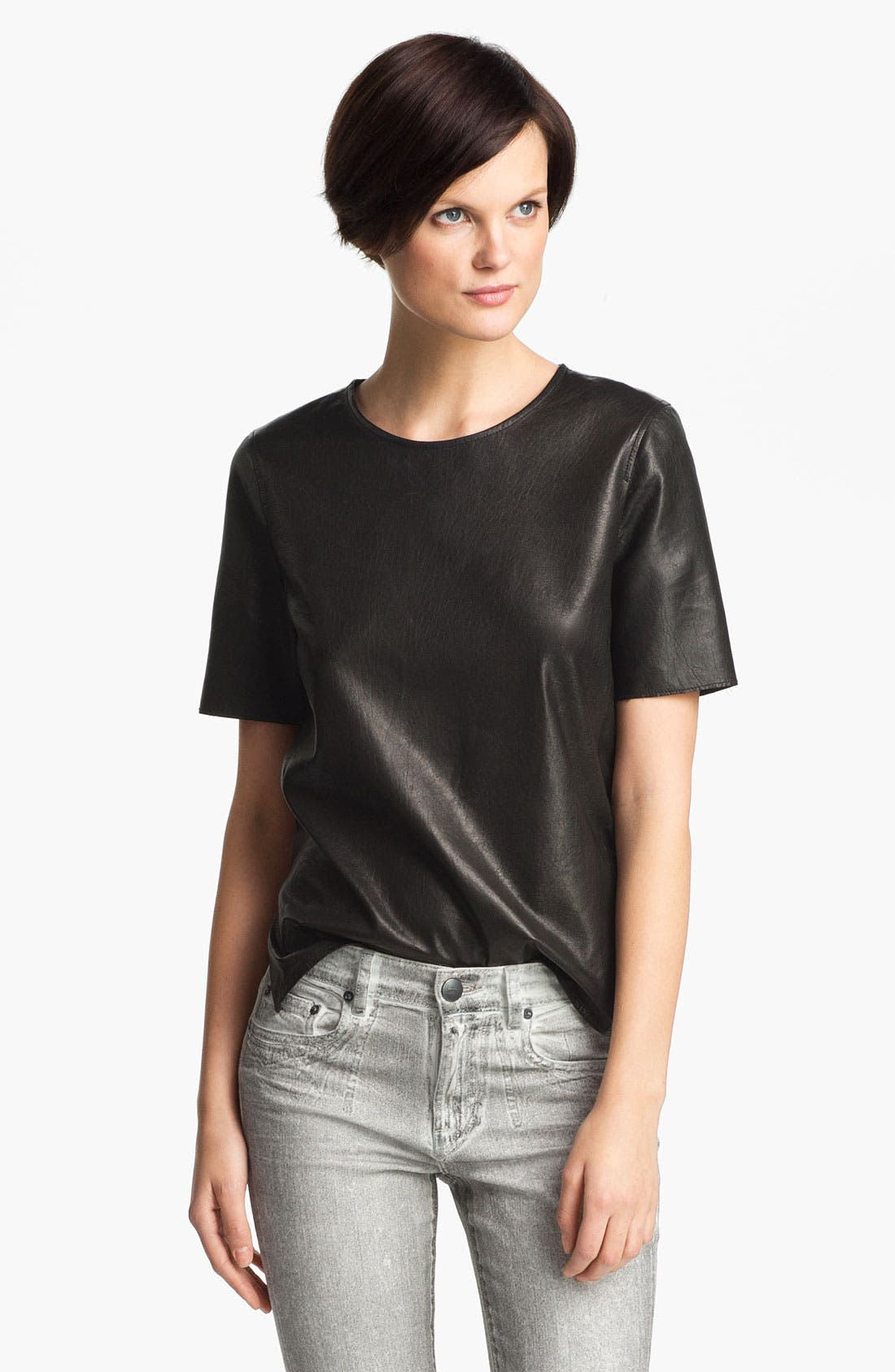 ,                             Leather Tee,                             Main thumbnail 1, color,                             001