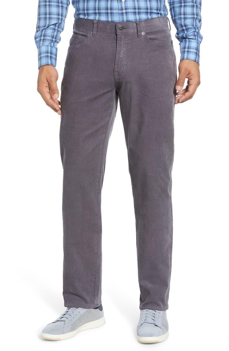 PETER MILLAR Superior Soft Five-Pocket Corduroy Pants, Main, color, SMOKE