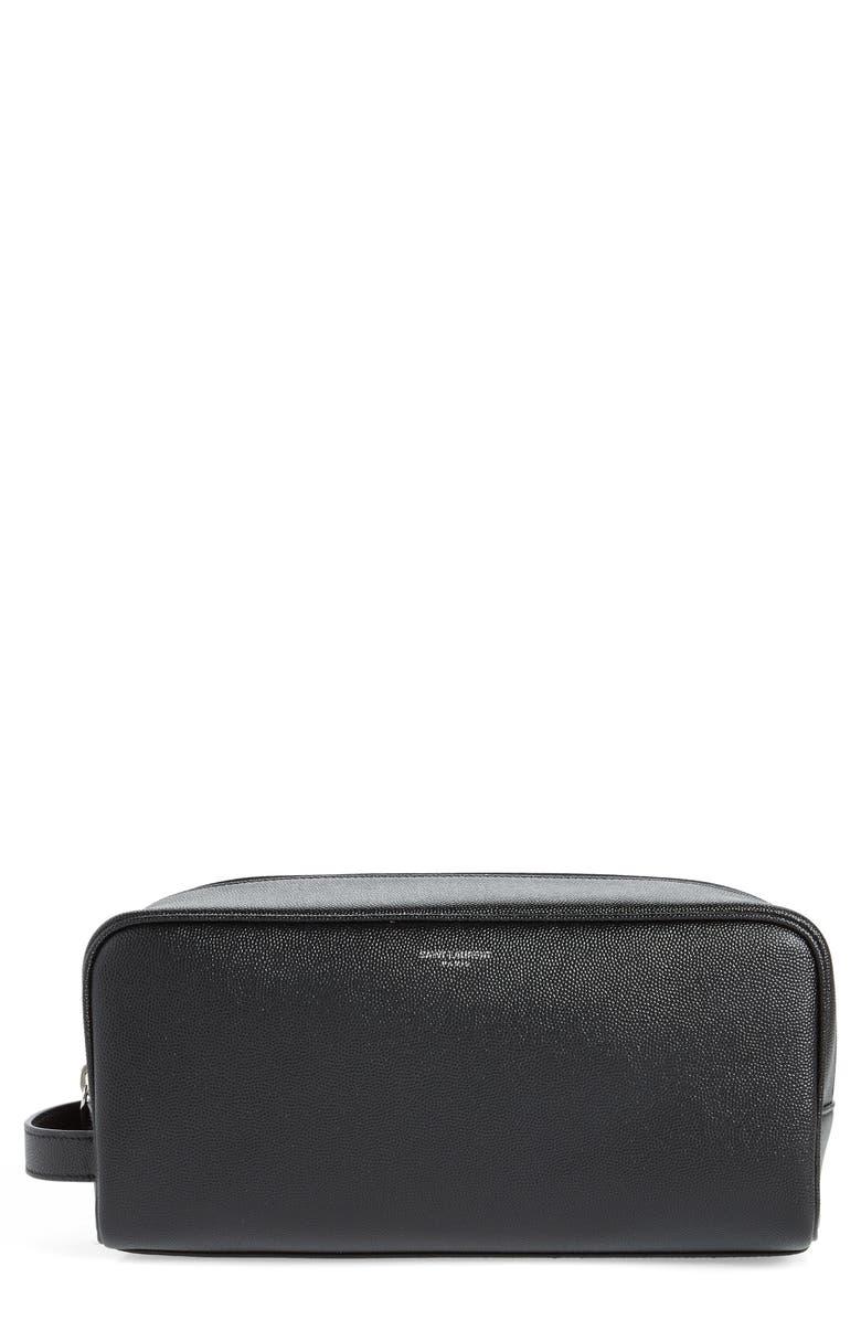 SAINT LAURENT Leather Dopp Kit, Main, color, BLACK