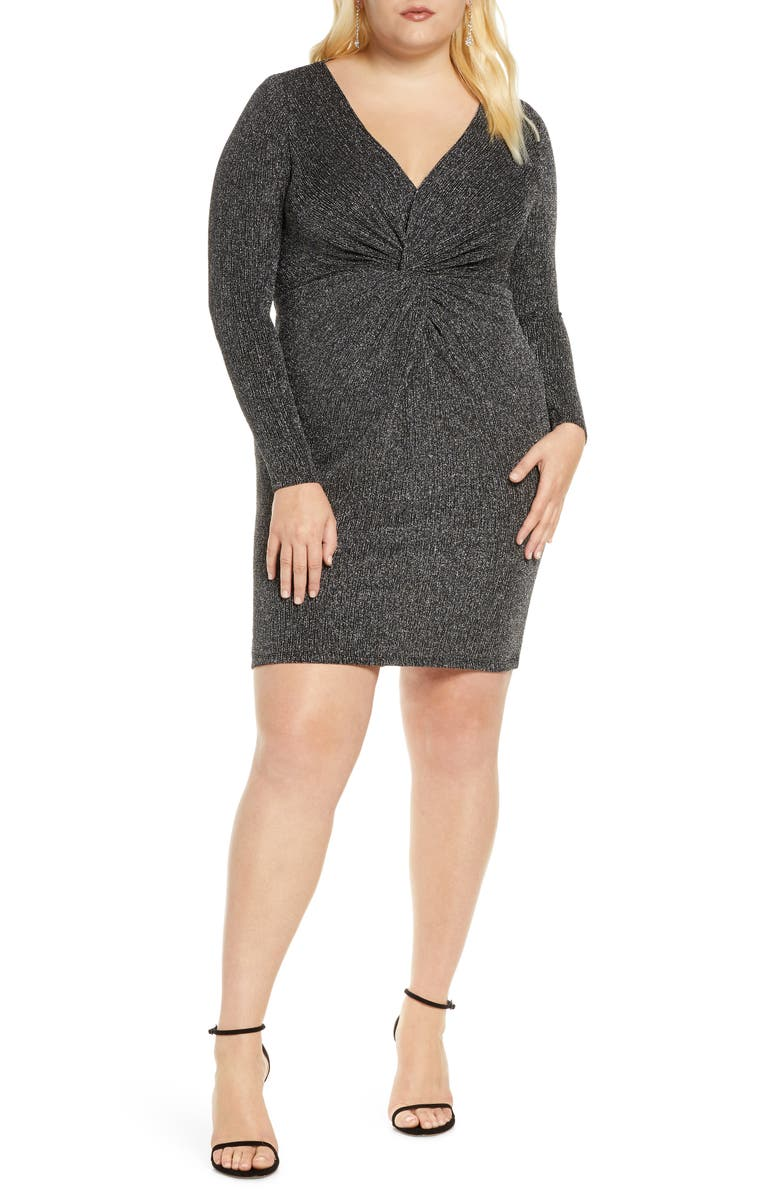 ELOQUII Knot Front Deep V Body-Con Dress, Main, color, BLACK W SILVER LUREX