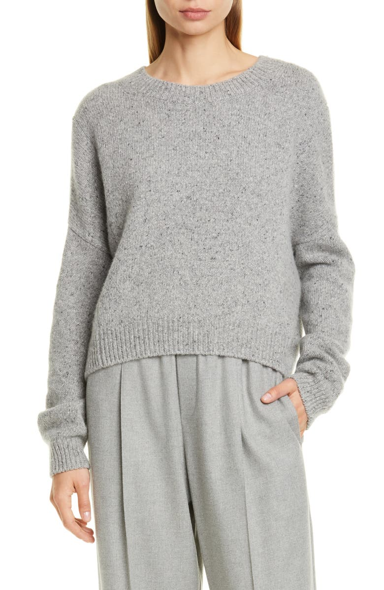 VINCE Oversize Boxy Cashmere Crewneck Sweater, Main, color, SOFT GREY