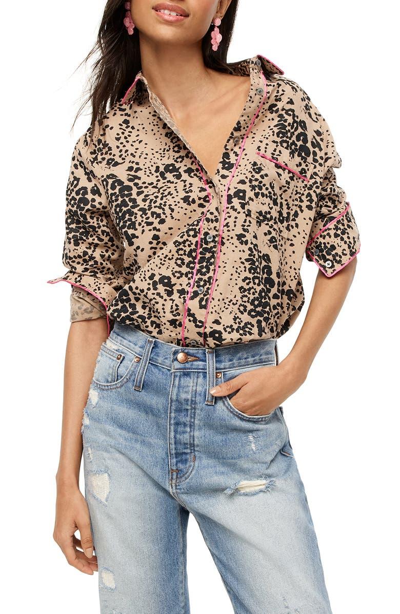 J.CREW Leopard Print Button-Up Shirt, Main, color, 001