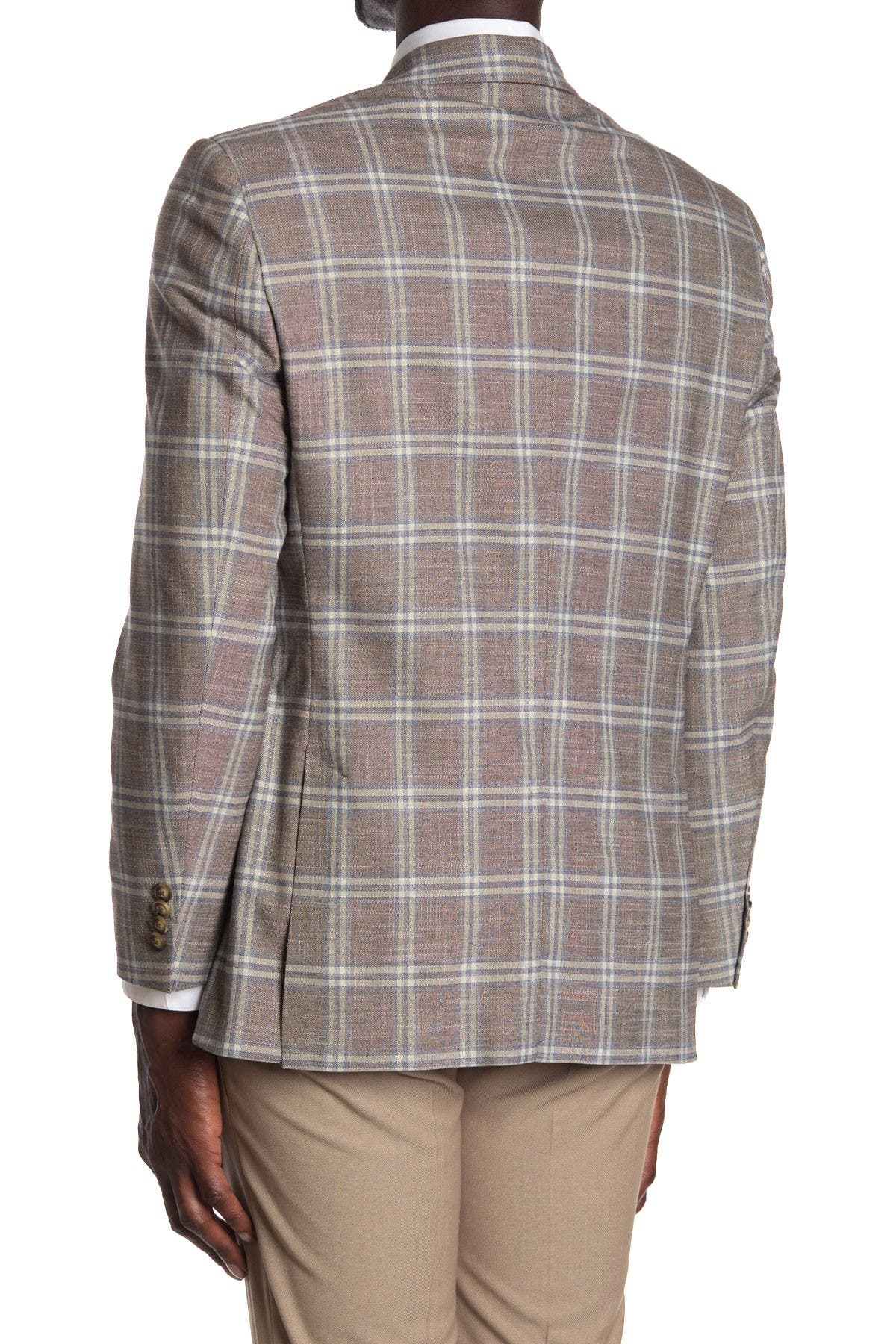 Tommy Hilfiger Tan/Blue Plaid Two Button Notch Lapel Sport Coat at Nordstrom Rack