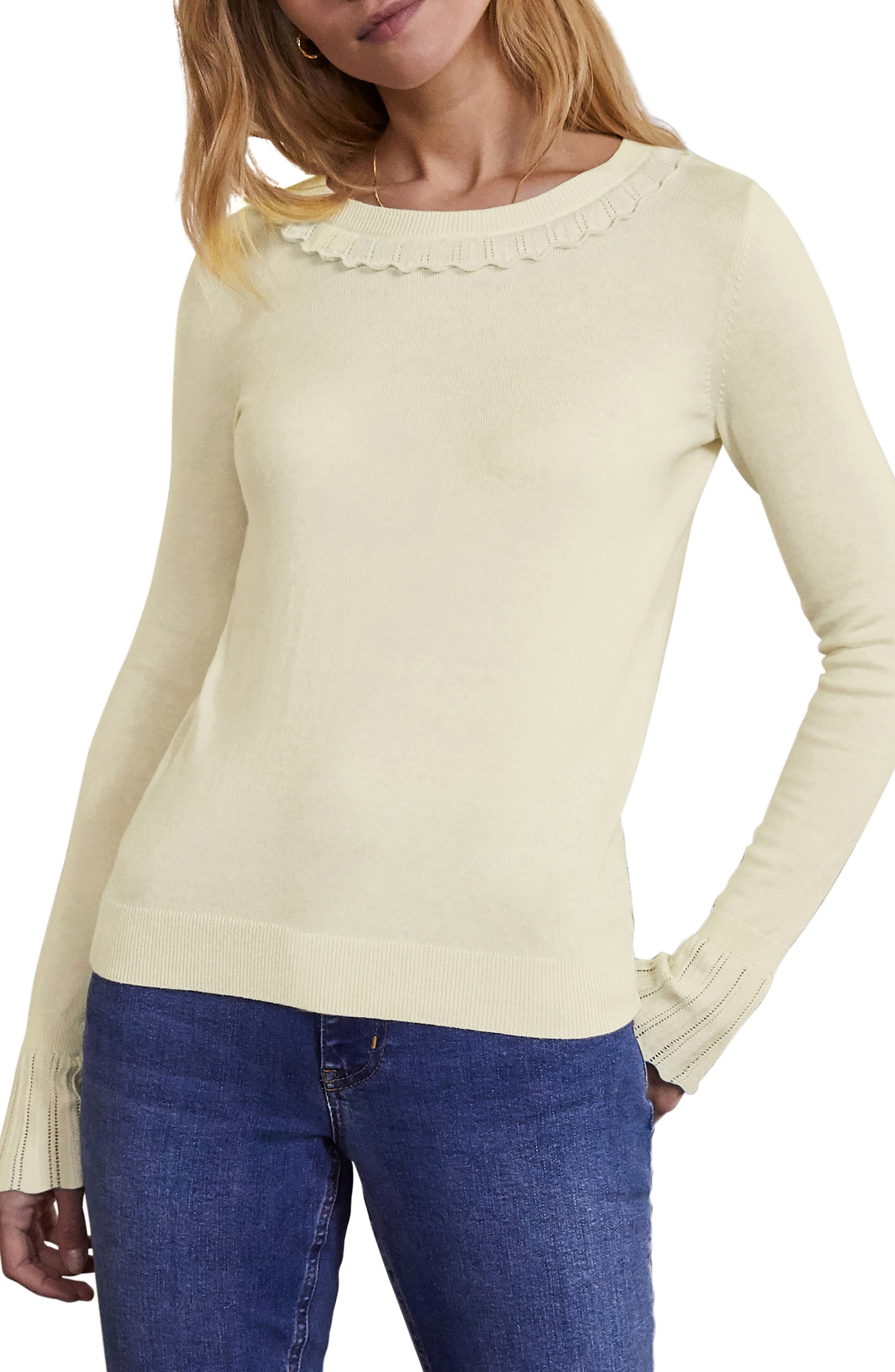 Boden Aimee Cotton & Wool Flare Sleeve Sweater