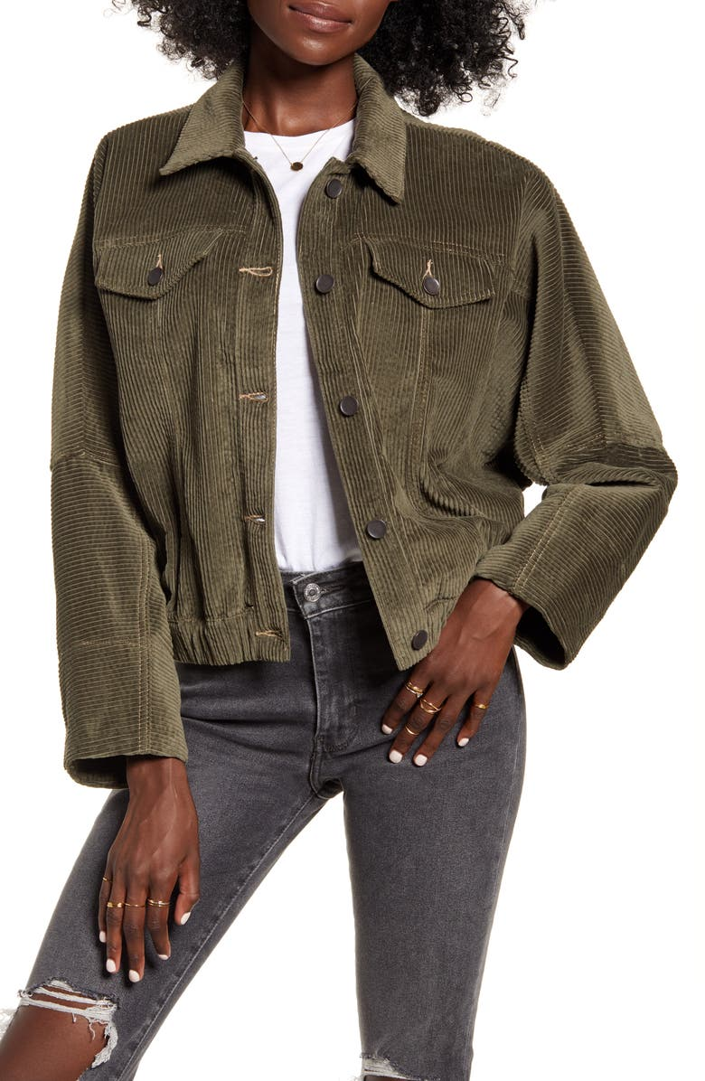 BAND OF GYPSIES Other Side Corduroy Jacket, Main, color, DUSTY OLIVE