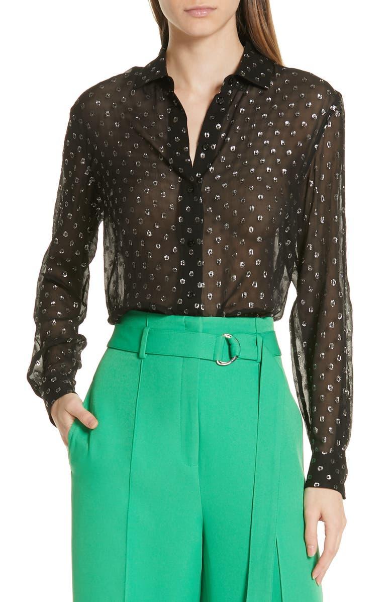 ROBERT RODRIGUEZ Camille Fil Coupé Silk Blend Chiffon Shirt, Main, color, 001